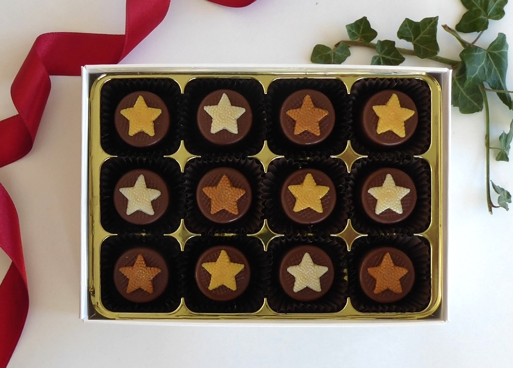 Caramel filled chocolates decorated with stars