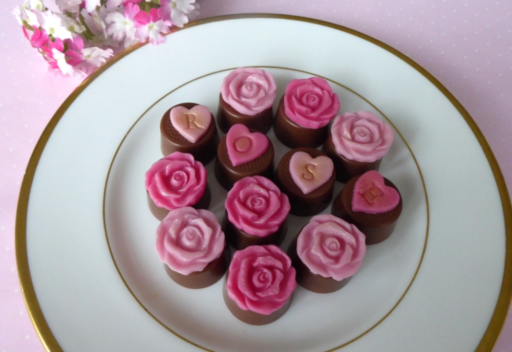 Chocs decorated with roses with rose flavoured filling