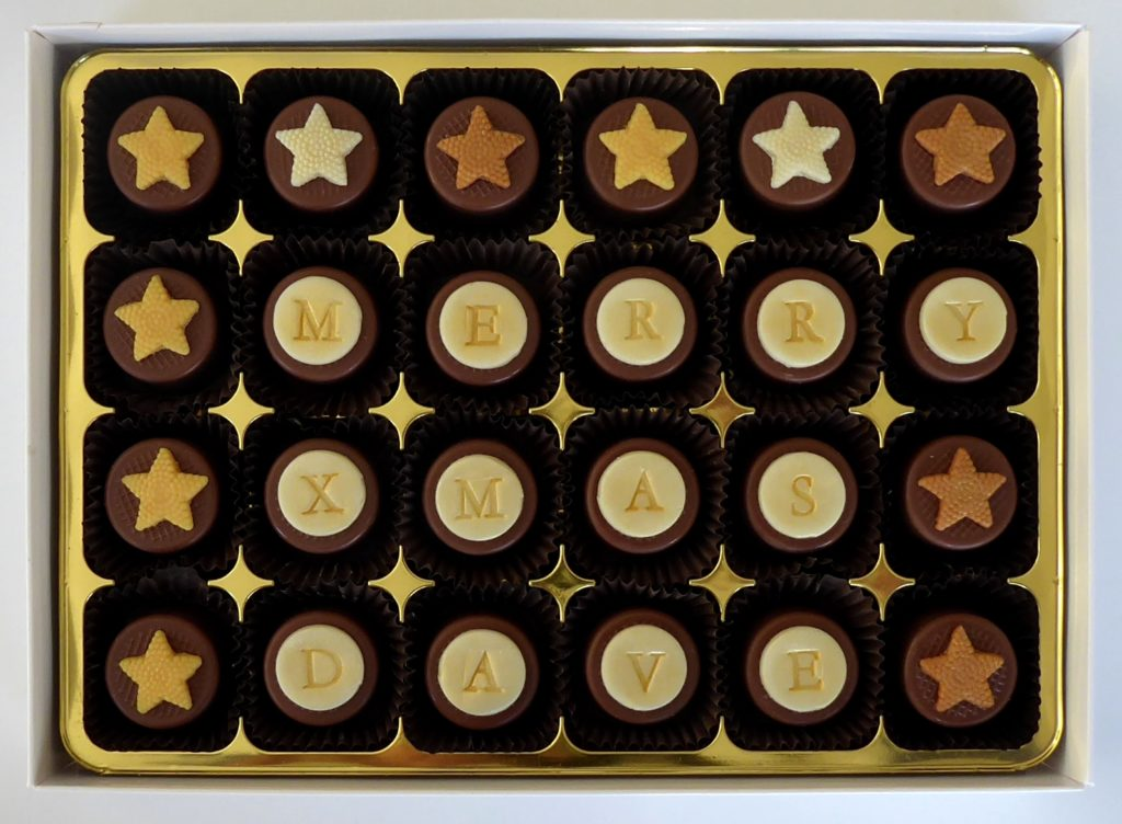 Caramel filled personalised chocolates